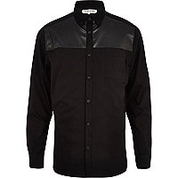 Black leather-look yoke Oxford shirt