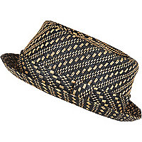 Black woven straw pork pie hat
