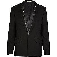 Black marble trim tux blazer