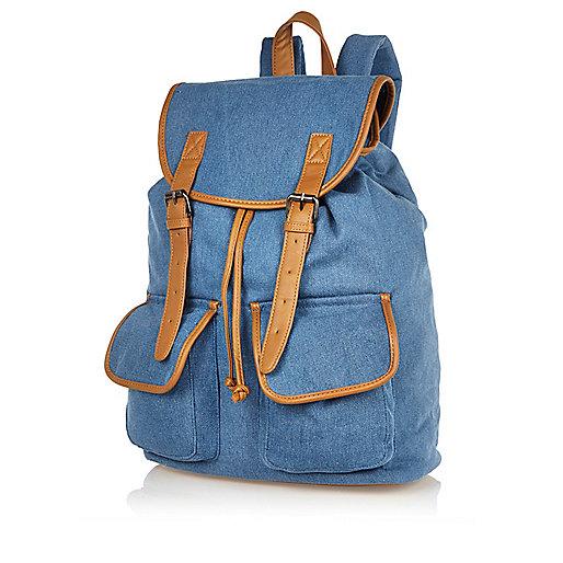 Blue denim contrast trim backpack
