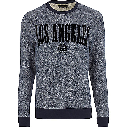 Navy Los Angeles flocked print sweatshirt
