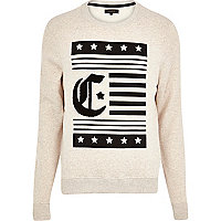 Ecru stars and stripes C print sweatshirt