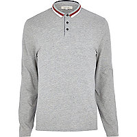 Grey colour block tipped polo shirt