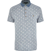 Light blue paisley print space dye polo shirt