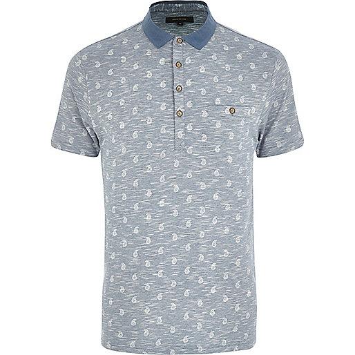 Light blue paisley print space dye polo shirt