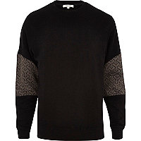 Black quilted sleeve panel sweatshirt