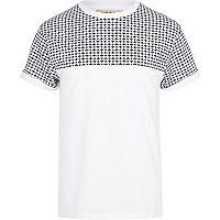 White tile print yoke crew neck t-shirt