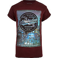 Dark red Amsterdam photo print t-shirt