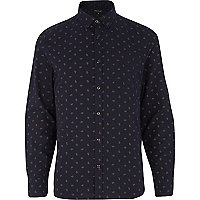 Navy ditsy paisley print long sleeve shirt
