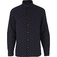 Navy ditsy paisley print long sleeve shirt