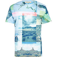 Blue desert abstract print t-shirt