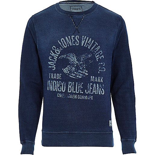 Navy Jack & Jones Vintage print sweatshirt