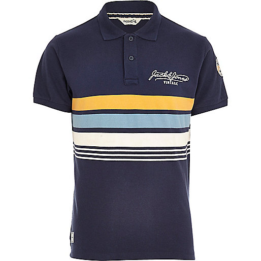 Navy Jack & Jones Vintage stripe polo shirt
