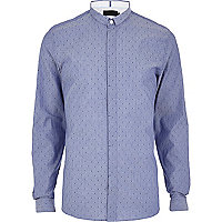 Light blue Vito polka dot long sleeve shirt