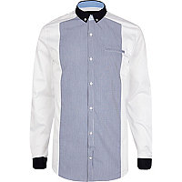 Blue Vito stripe panel long sleeve shirt