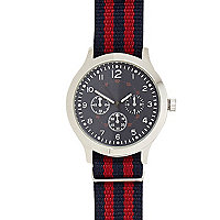 Navy and red stripe watch
