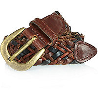 Mixed brown leather plaited belt