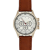 Brown round dial watch