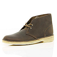 Brown Clarks Originals leather desert boots