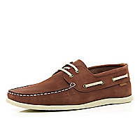 Rust red boat shoes