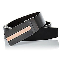 Black rose gold tone plate belt