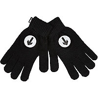 Black reflective cycling gloves