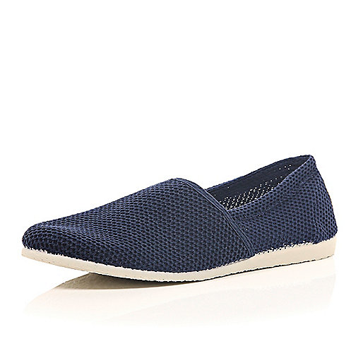 Navy mesh slip on plimsolls