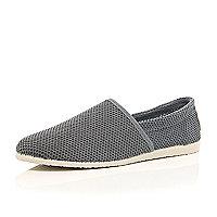 Grey mesh slip on plimsolls
