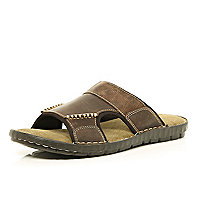 Brown slip on mule sandals
