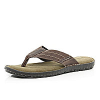 Brown toe post stitch detail sandal