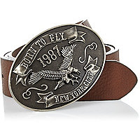 Brown American eagle plate belt