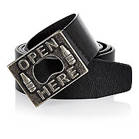 Black Open Here buckle belt