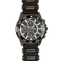 Gunmetal tone rubber strap watch