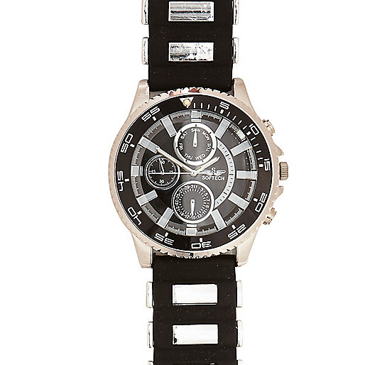 Black rubber and metal bracelet watch