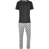 Dark grey moustache print t-shirt pyjamas