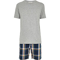 Blue check shorts and grey t-shirt pyjama set