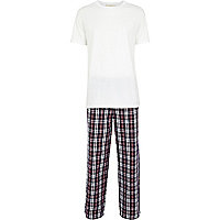 Blue tartan pyjama bottoms and t-shirt set