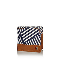 Navy stripe suede panel wallet