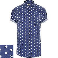 Blue star print short sleeve shirt