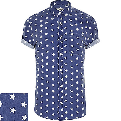Blue star print short sleeve shirt