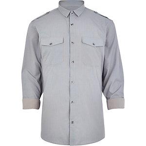 Grey stripe military shirt