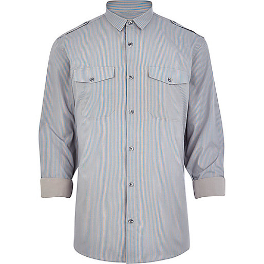 Grey stripe military shirt