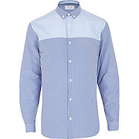 Blue check contrast yoke long sleeve shirt