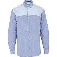 Blue check contrast yoke long sleeve shirt