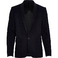 Navy leather-look shawl collar blazer