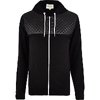 Black leather-look quilted yoke hoodie