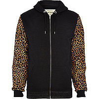 Black leopard sleeve zip through hoodie