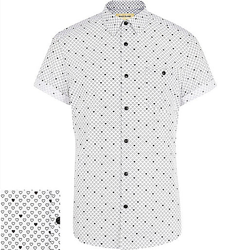 White ditsy heart print short sleeve shirt