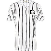 White stripe button through baseball t-shirt