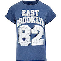 Blue acid wash East Brooklyn 82 print t-shirt